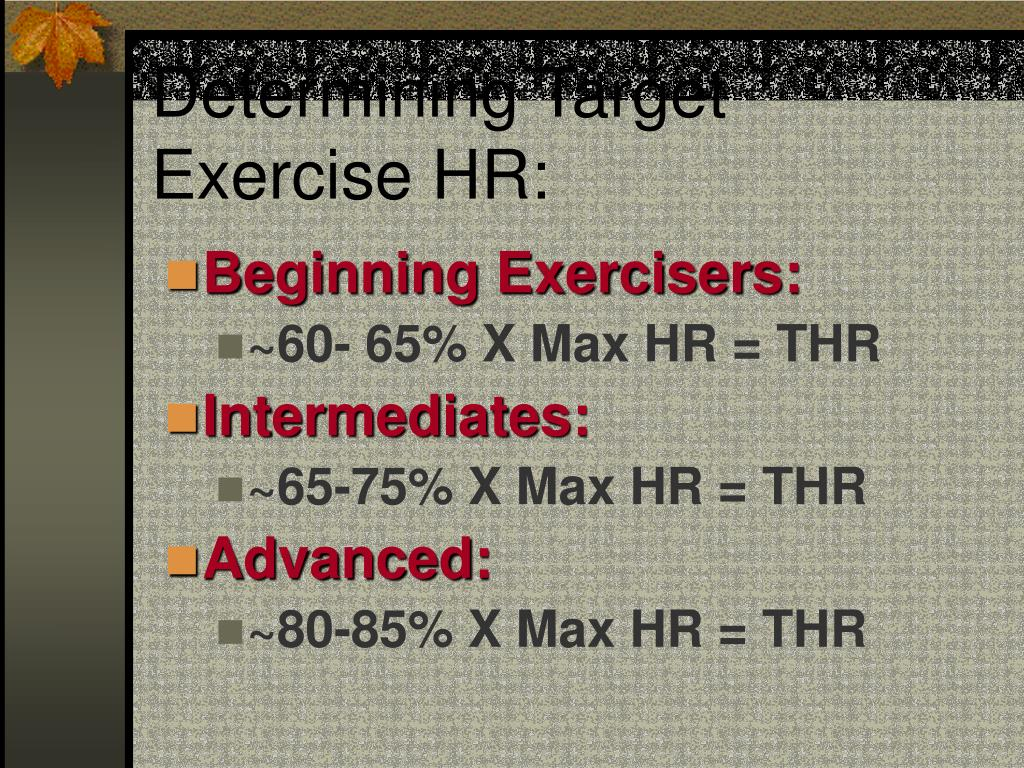 Determining Target Exercise HR: