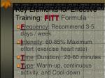 key elements for effective training fitt formula