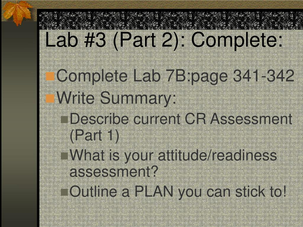 Lab #3 (Part 2): Complete: