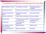 examples of moderate intensity physical activities