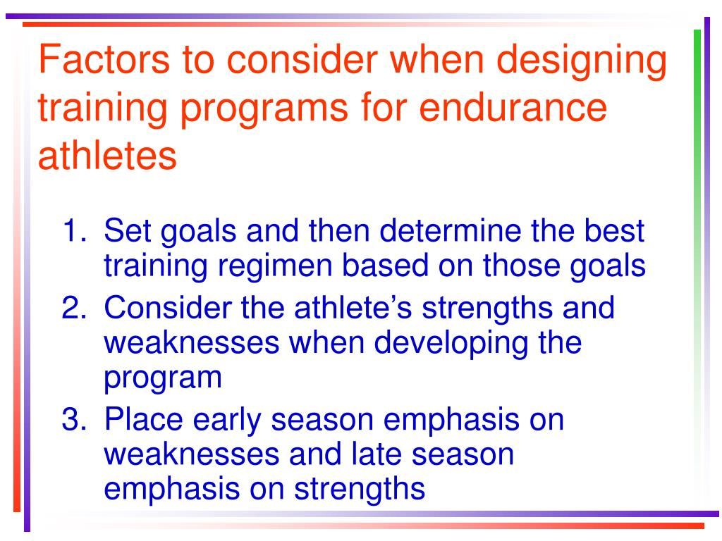 Factors to consider when designing training programs for endurance athletes