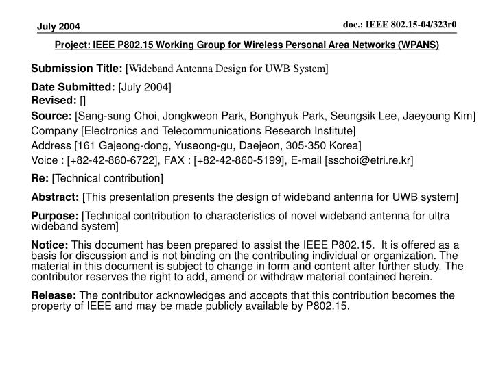 project ieee p802 15 working group for wireless personal area networks wpans n.