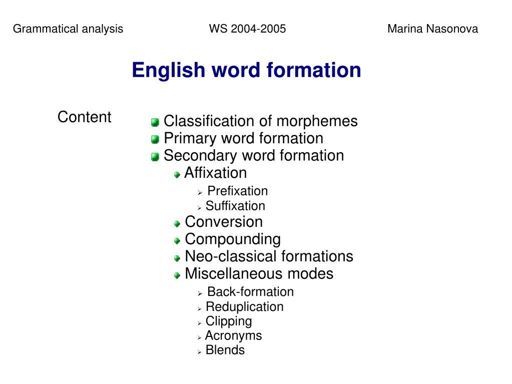 PPT - Grammatical analysis PowerPoint Presentation - ID:603733