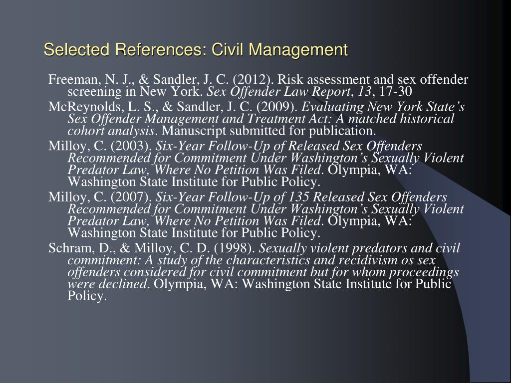 Selected References: Civil Management