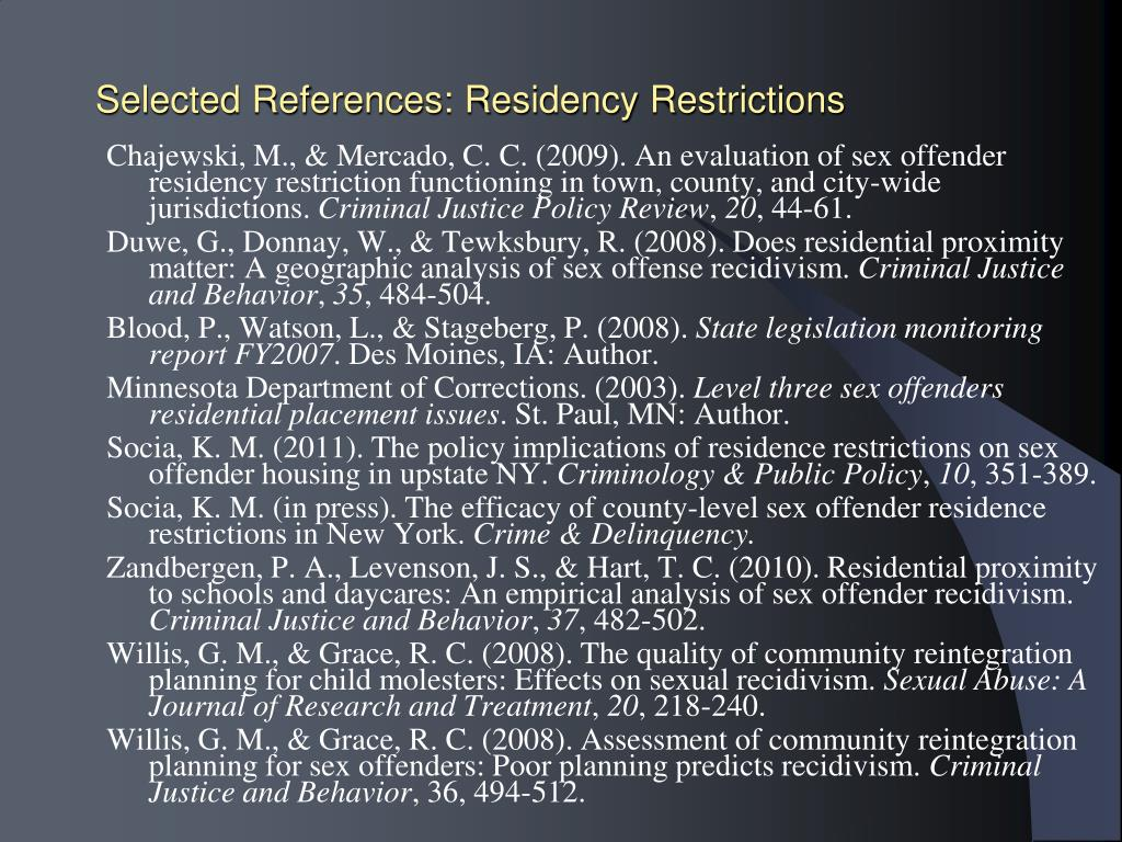 Selected References: Residency Restrictions