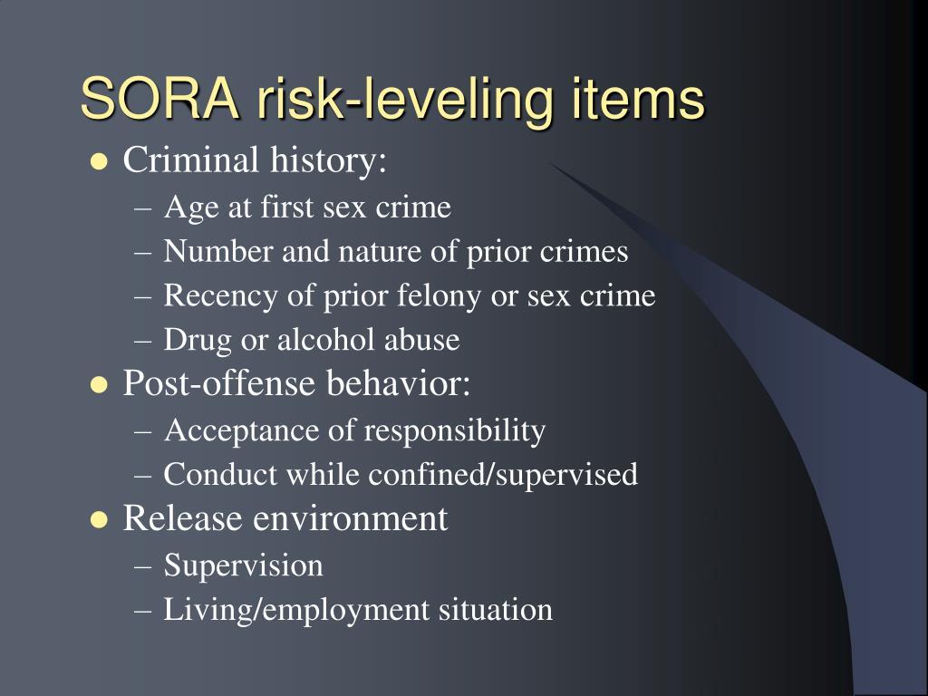 SORA risk-leveling items