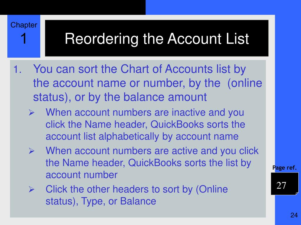 Reordering the Account List
