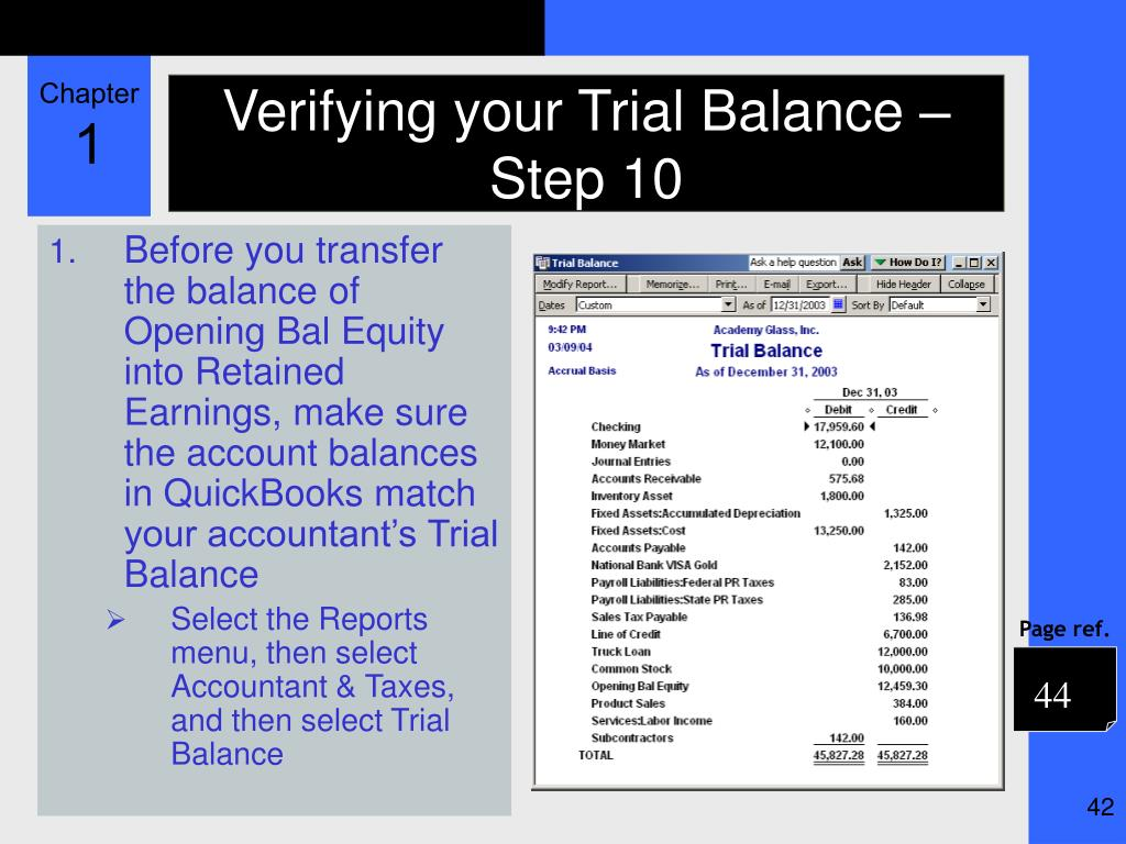 Verifying your Trial Balance – Step 10