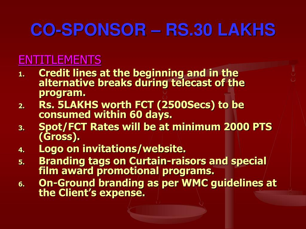CO-SPONSOR – RS.30 LAKHS