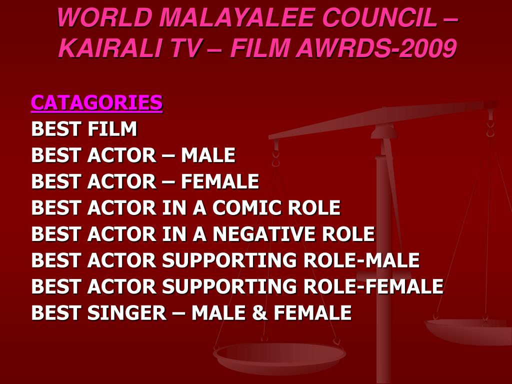 WORLD MALAYALEE COUNCIL – KAIRALI TV – FILM AWRDS-2009