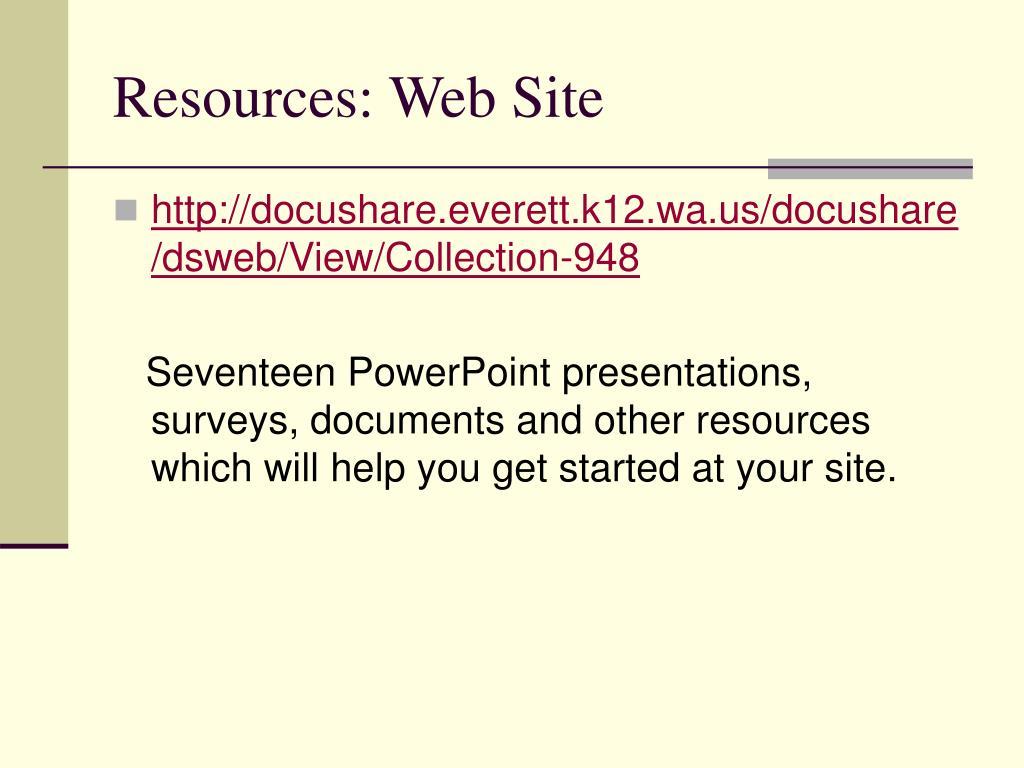 Resources: Web Site