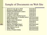 sample of documents on web site