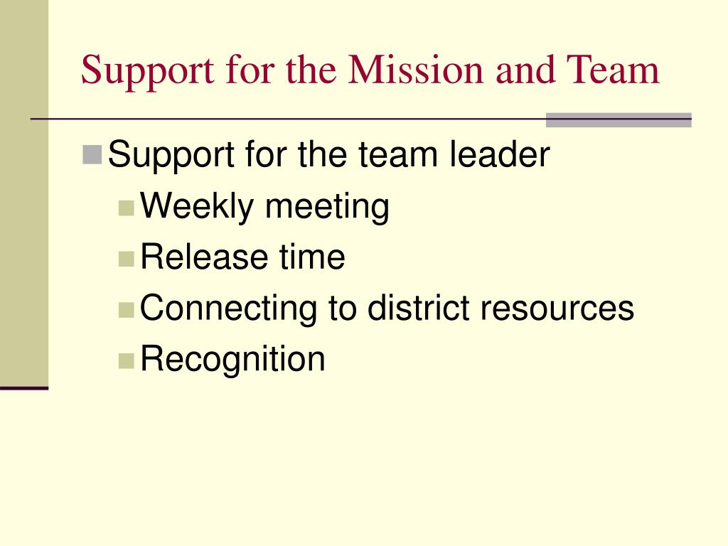 Support for the Mission and Team