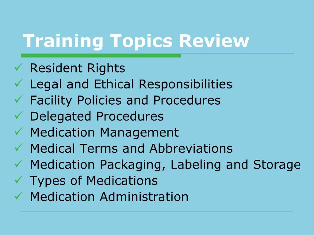 Training Topics Review