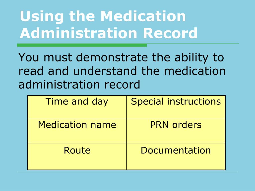 Using the Medication Administration Record