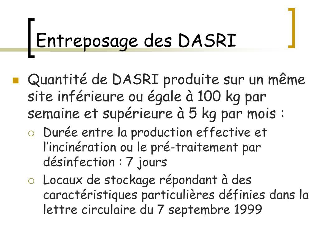 Entreposage des DASRI