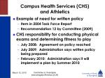 campus health services chs and athletics