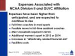 expenses associated with ncaa division ii and glvc affiliation