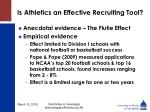 is athletics an effective recruiting tool
