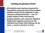 putting academics first55