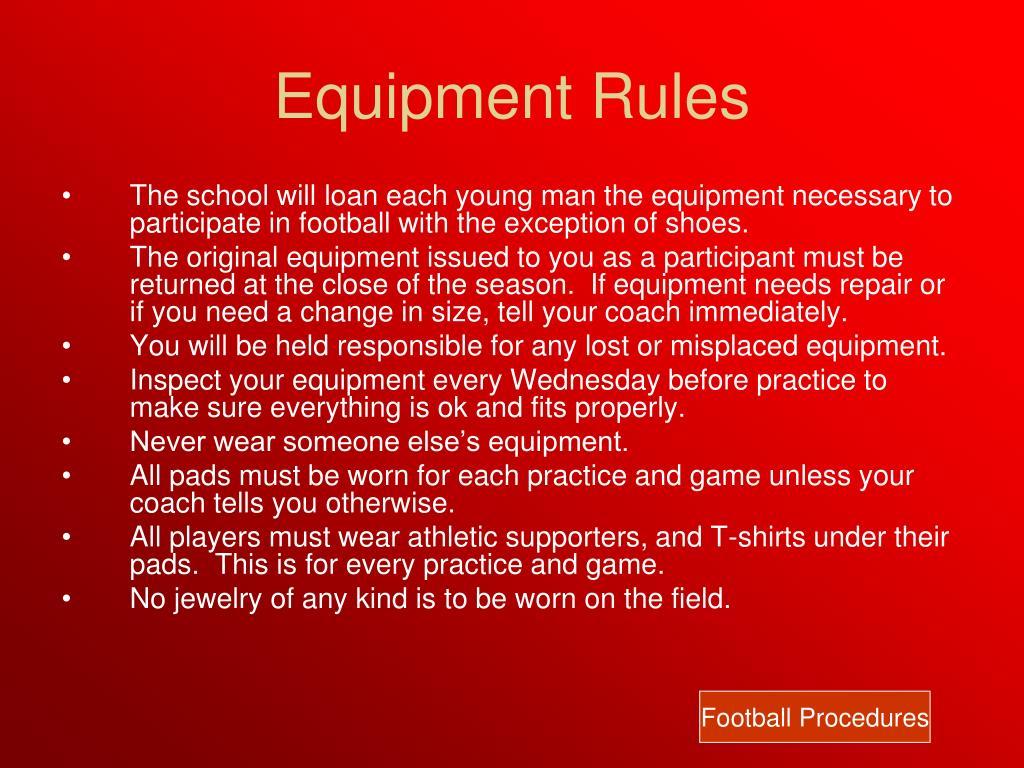 Equipment Rules