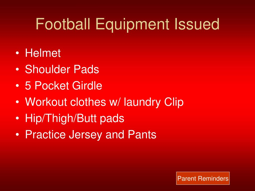 Football Equipment Issued
