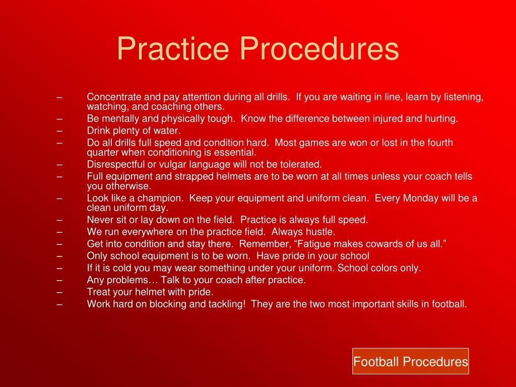 Practice Procedures