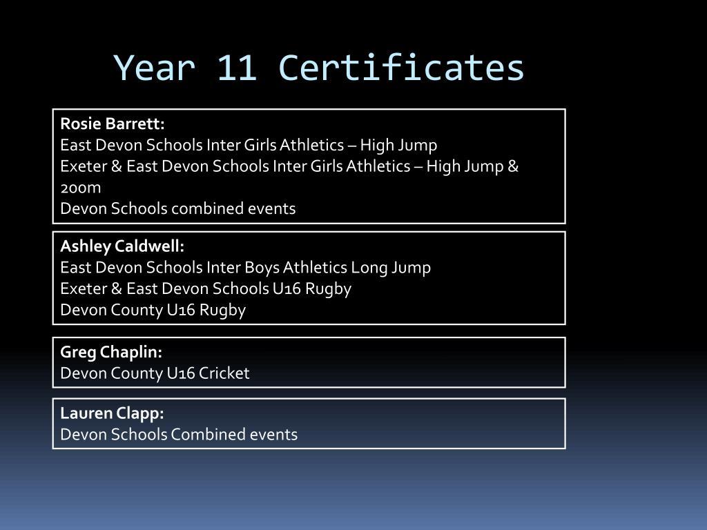 Year 11 Certificates
