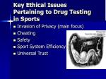 key ethical issues pertaining to drug testing in sports