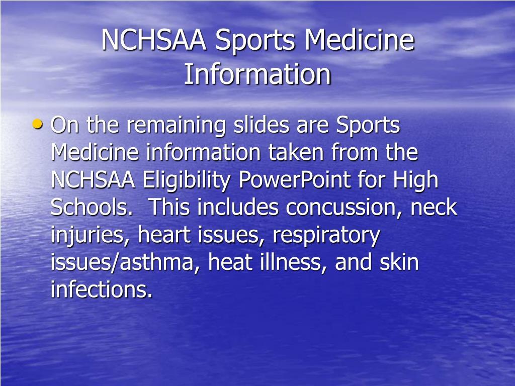 NCHSAA Sports Medicine Information