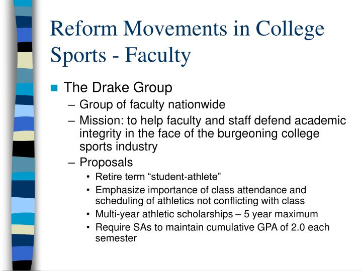 we must reform college sports Want to play college sports the value of college sports reform efforts ncaa membership financial reporting system the recent news of a federal investigation into fraud in college basketball made it very clear the ncaa needs to make substantive changes to the way we operate.