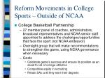 reform movements in college sports outside of ncaa