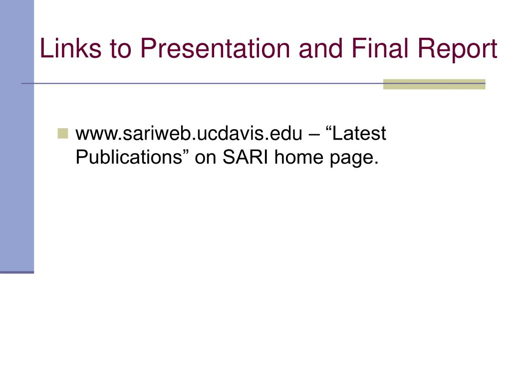 Links to Presentation and Final Report