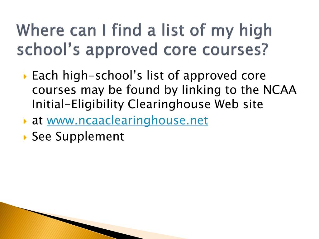Where can I find a list of my high school's approved core courses?