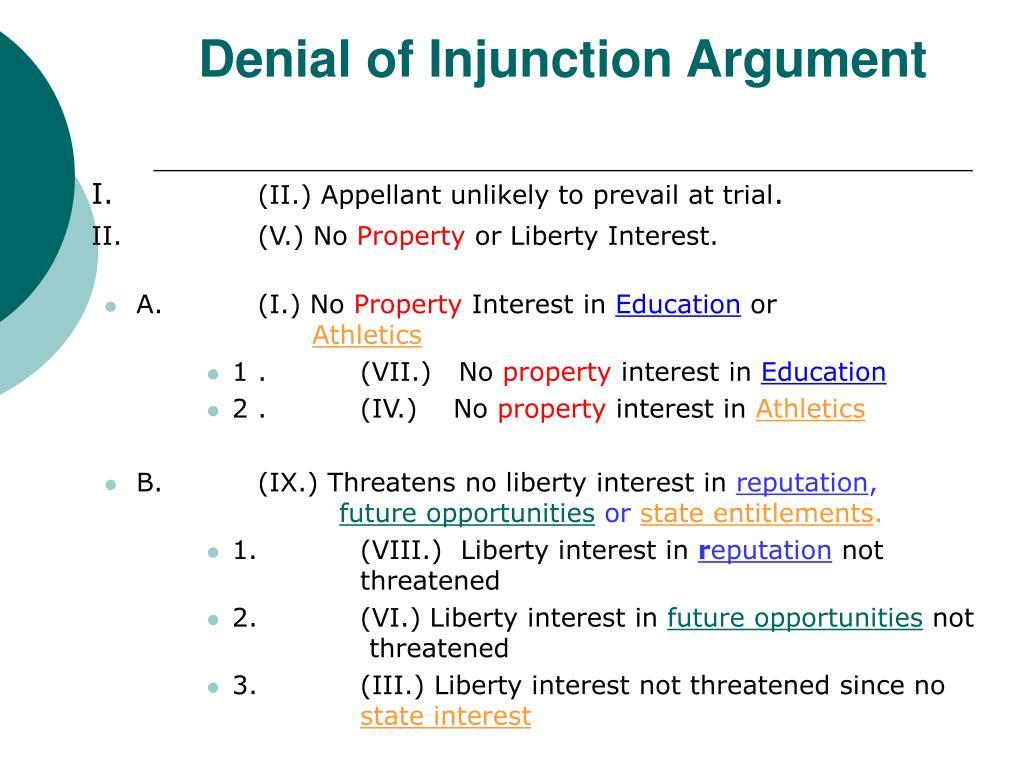 Denial of Injunction Argument