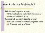 are athletics profitable