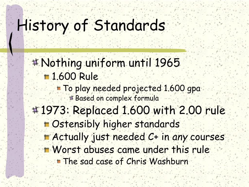 History of Standards