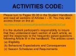 activities code