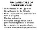 fundamentals of sportsmanship