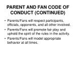 parent and fan code of conduct continued26