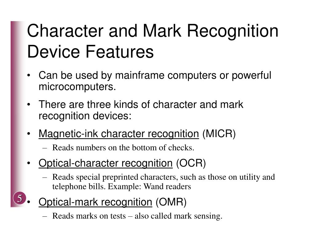 Character and Mark Recognition Device Features