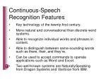 continuous speech recognition features