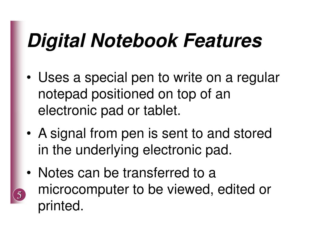 Digital Notebook Features