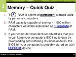 memory quick quiz
