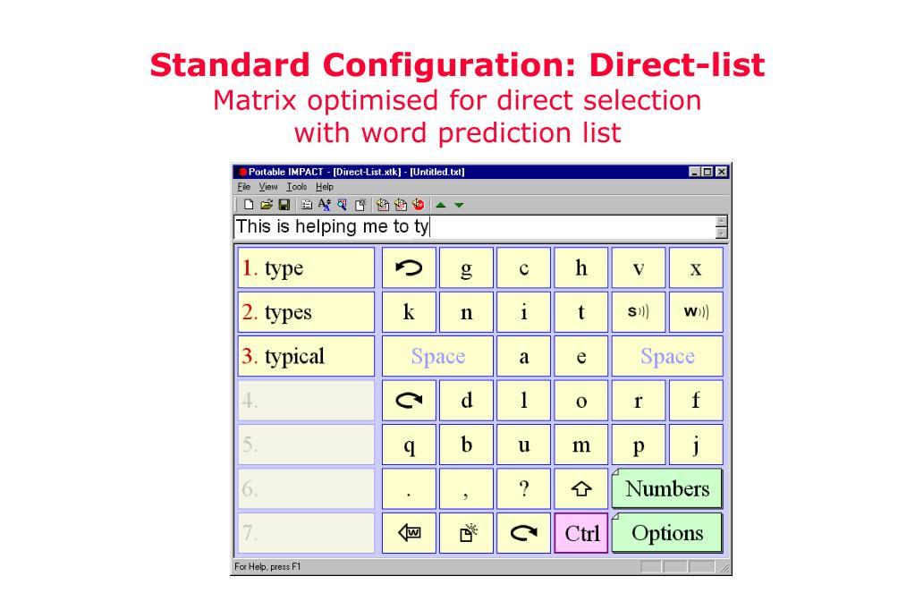 Standard Configuration: Direct-list