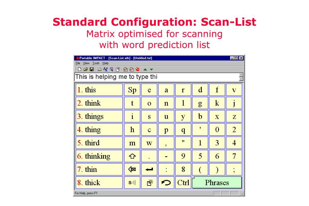 Standard Configuration: Scan-List