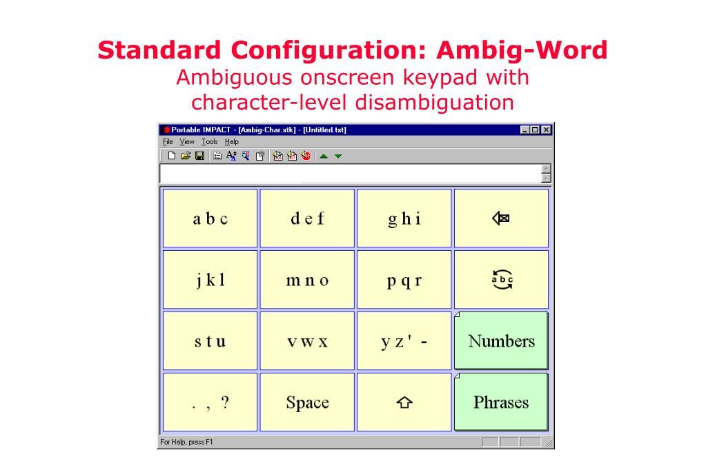 Standard Configuration: Ambig-Word