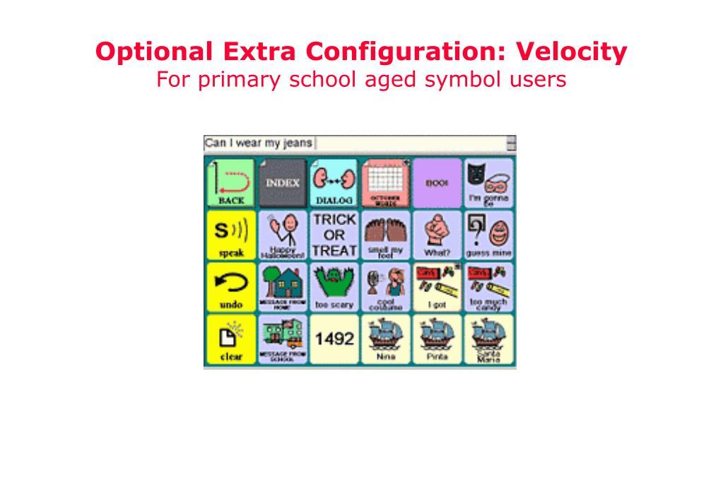 Optional Extra Configuration: Velocity