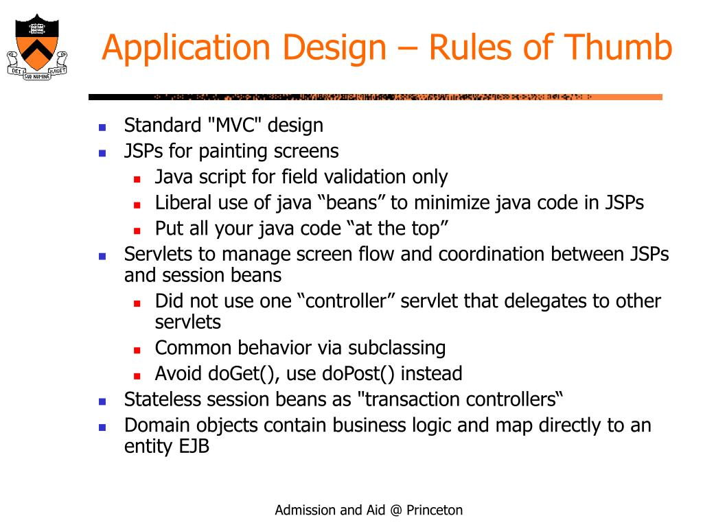 Application Design – Rules of Thumb