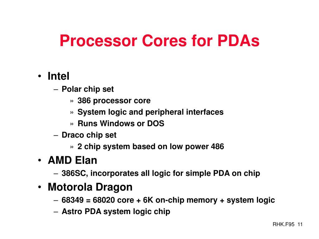 Processor Cores for PDAs